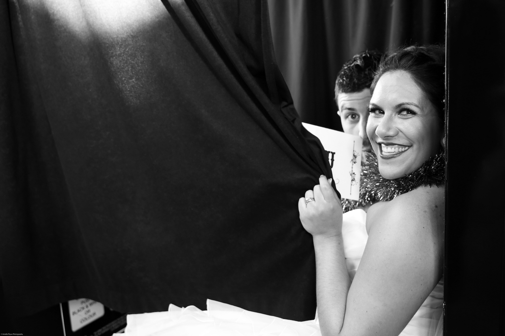 Newlywed couple in our photo booth